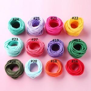 Image 3 - 100 ชิ้น/ล็อตใหม่Super Soft TracelessยืดบางผอมไนลอนHeadbandsสำหรับBebeเด็กหญิงฐานHeadbandอุปกรณ์เสริมผม