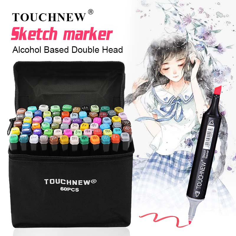 TOUCHNEW Pen Drawing-Markers Alcohol-Based Dual-Brush Manga Sketch-Oily Art-Supplies