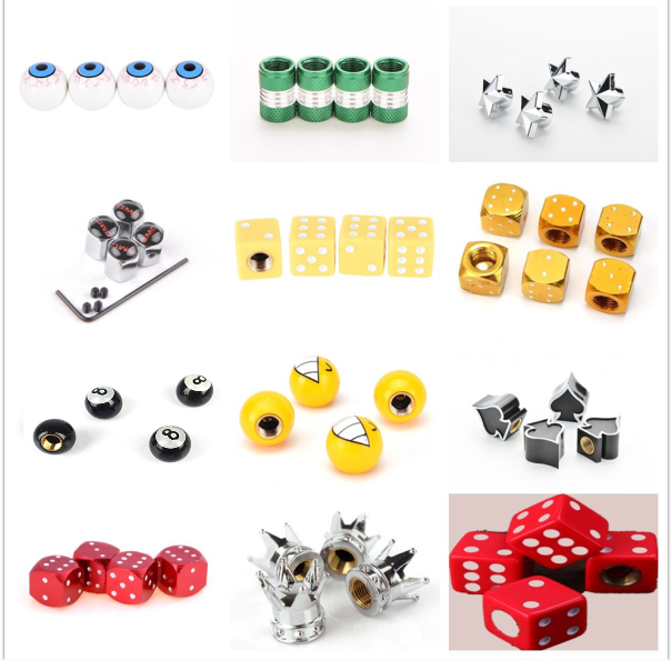 4Pcs Bicycle Tire Valve Caps Dice Ball Star Crown Shaped Bike Tyre Wheel Stem Air Valve Cap Auto Truck Dustproof Airtight Caps