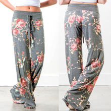 Leg-Trouser Pant Women Yoga Plus-Size Drawstring Floral-Print Loose Sports Casual Wide