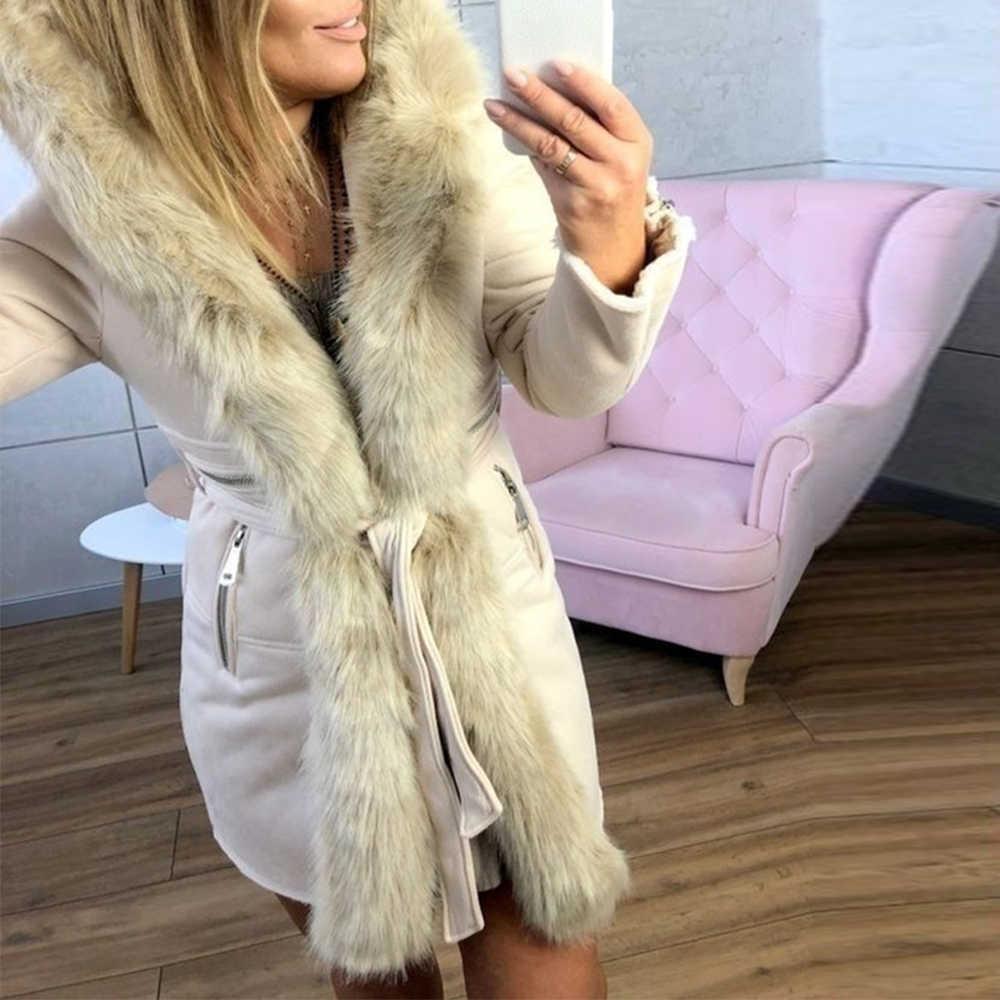 Litthing de invierno con capucha de piel sintética de Chaqueta larga de las mujeres caliente cinturón corte slim fit Parka chaqueta 2019 de piel elegante, Casaco Feminino con capucha moda Streetwear