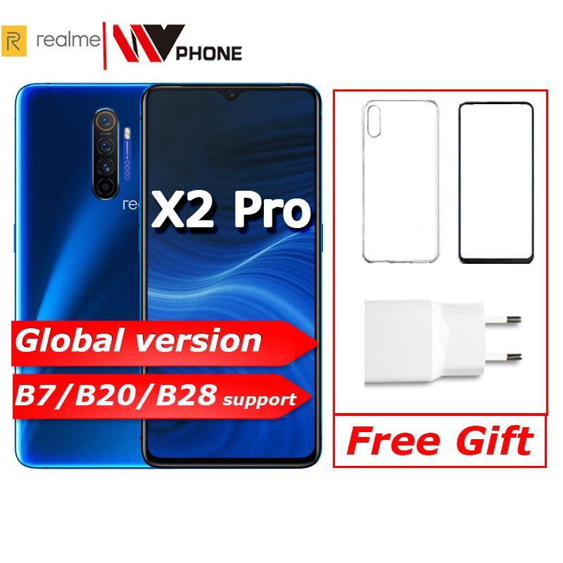 Realme X2 pro X 2 version mondiale téléphone mobile Snapdragon 855 plus 64MP Quad caméra NFC OPPO téléphone portable VOOC 50W super chargeur