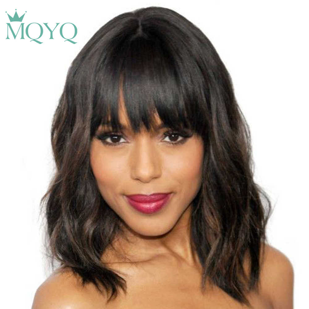 MQYQ Malaysian nature body Wave Human Hair Wigs With Adjustable Bangs 14inch Short Wigs Machine Natural Color Non Remy Wigs