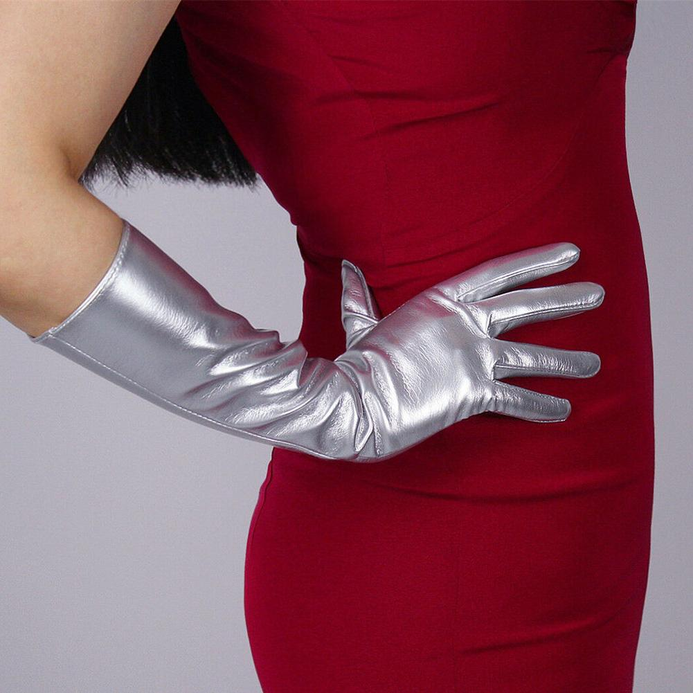 Cosplay Party Stage Performance Women Full Finger Shine Faux Leather Long Gloves