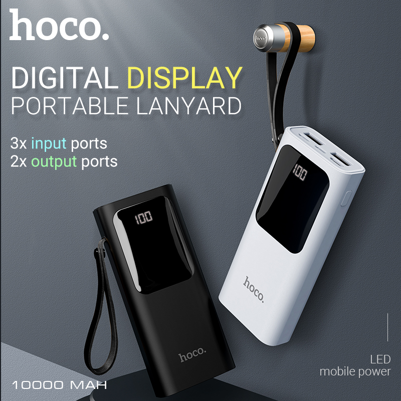 hoco external <font><b>battery</b></font> <font><b>10000</b></font> <font><b>mAh</b></font> mobile power bank dual USB output 2A portable <font><b>battery</b></font> <font><b>pack</b></font> charger LED display for iPhone Xiaomi image