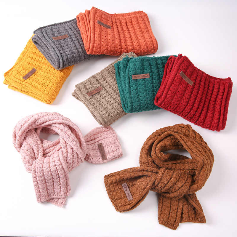 Solid Soft Thickened Winter Warm Cotton Knitted Scarf 2019 Kids Child Children's Scarf Scarves for Children Boys Girls