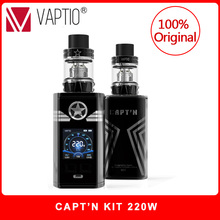 Authentic Electronic Cigarette Vaptio CAPT'N Kit 2.0ml/4.0ml Atomizer Top filling with 220w box mod Fitted 510 Thread Tank цена и фото