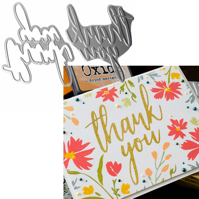 Thank You Phrase Hot Foil Plate+Die Cut For DIY Scrapbooking Embossing Crafts Cards Decoration New 2019