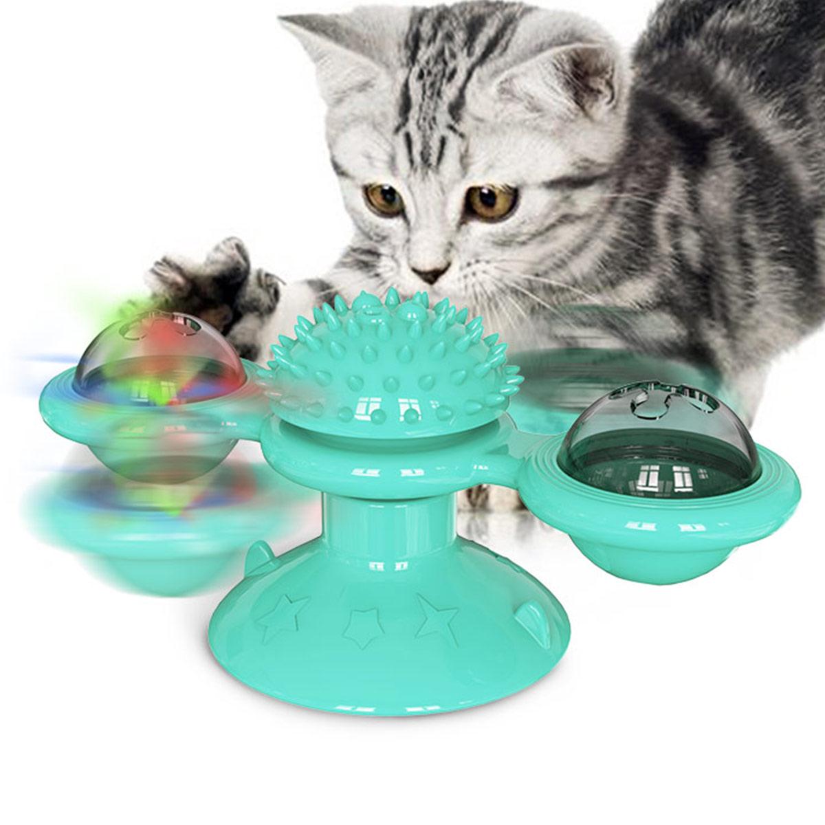 Brinquedo interativo do gato do cão de estimação moinho de vento rotativa plataforma giratória provocando tickling brinquedo educacional treinamento do gato e do cão com bola luminosa