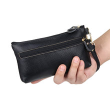 Women Wallets Genuine Leather Pouch Coin Purse Long Female Dollar Money Bag thin Wristlet Clutch Lady Cash Phone Small Clutch(China)