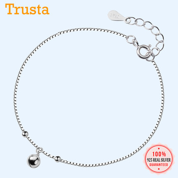 Trustdavis 925 Sterling Silver Women's Fashion Chinese Charm Wish Bell Anklets For Women Girls Birthday Gift 925 Jewelry DS1483