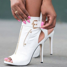 Women Sandals European New Fish Mouth Back Zipper Cool Boots Sexy High Heel Sandals Female