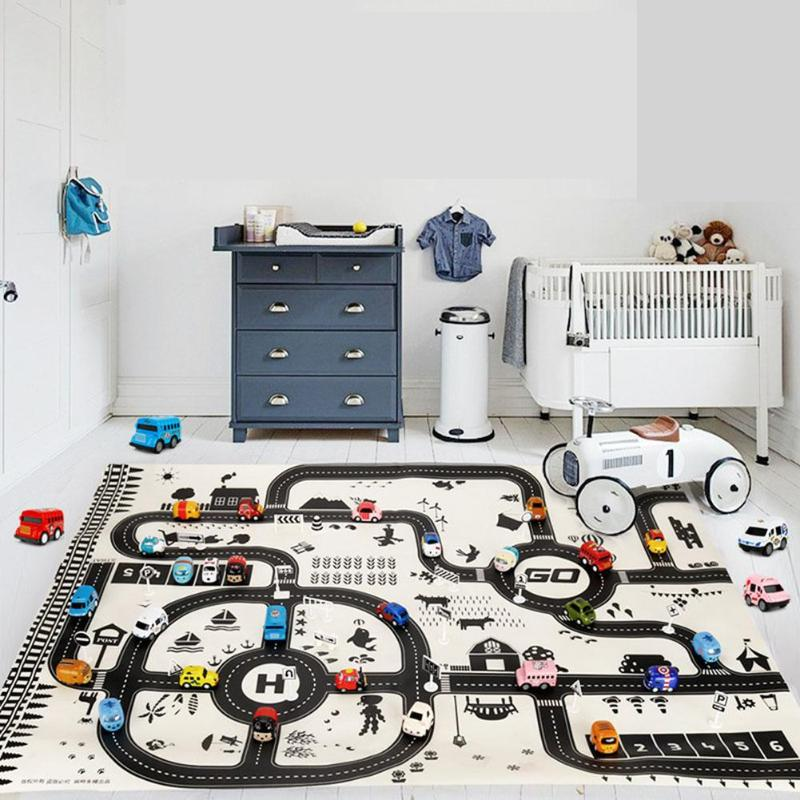 Newborn Baby Playing Mat Kids Boys Girls Crawling Blanket Cute Cartoon Traffic Park Map Mat Toys For Children Funny Game Carpet