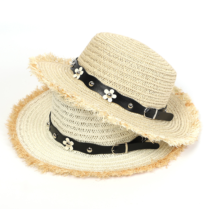 2020 Summer Hat Women Straw Hat Sun Fashion Flat PU Leather Floret Panama Breathable Casual Protection Beach Sun Hats For Women