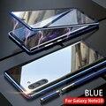 Для samsung Galaxy Note 10 Plus Pro Чехол переднее и заднее магнитное закаленное стекло двустороннее Стекло Алюминиевый металлический защитный чехол