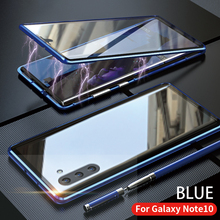 For Samsung Galaxy Note 10 Plus Pro Case Front And Back Magnetic Tempered Glass Two Sided Glass Aluminum Metal Protective Cover
