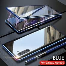 Para Samsung Galaxy Note 10 Plus Pro funda frontal y trasera cristal templado magnético de dos lados vidrio aluminio Metal cubierta protectora