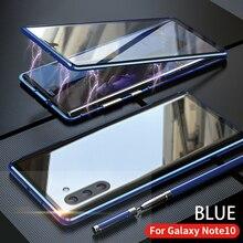 Para samsung galaxy note 10 plus pro caso dianteiro e traseiro magnético vidro temperado dois lados de alumínio metal capa protetora