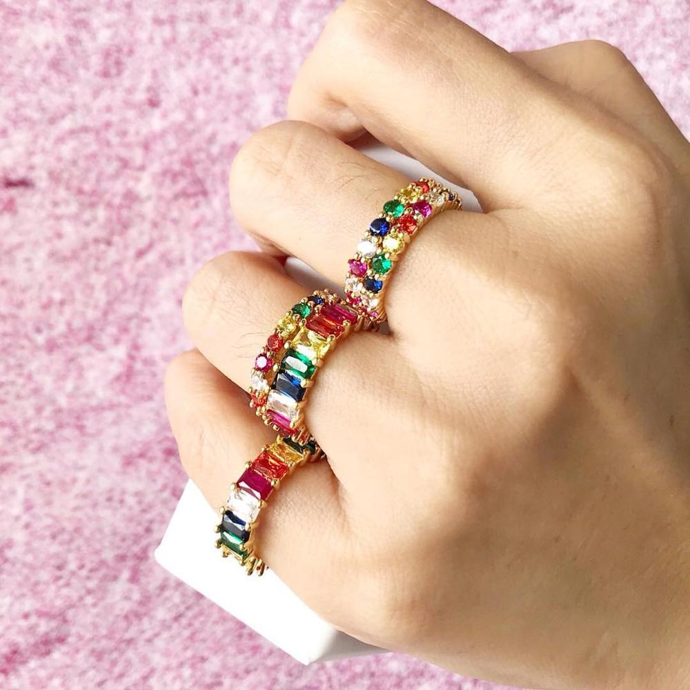 2019 Large Love Gold Rings For Women baguette Finger Colorful Cubic Zirconia Rainbow Rings Anillo Arcoiris Girls Jewellery