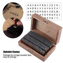70 Uds Vintage madera alfabeto letras sello símbolos niños enseñanza diario libro