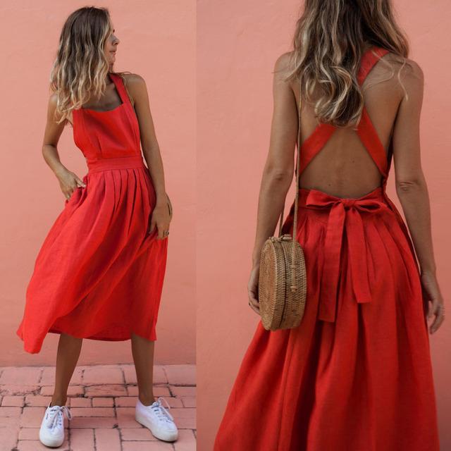 Women Summer Boho Strappy Long Maxi Dress Sexy Backless Party Red Dress Beachwear Sundress vestido mujer