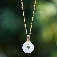 جديد الفضة مطعمة الطبيعية هيتيان جاسبر قلادة قلادة المحكمة الصينية نمط صغير جميل سحر الماس المرأة مجوهرات