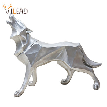 VILEAD Resin Abstract Wolf Statue Geometric Animal Figurines Office Room Interial Decoration Nordic Home Decor Sculpture Crafts