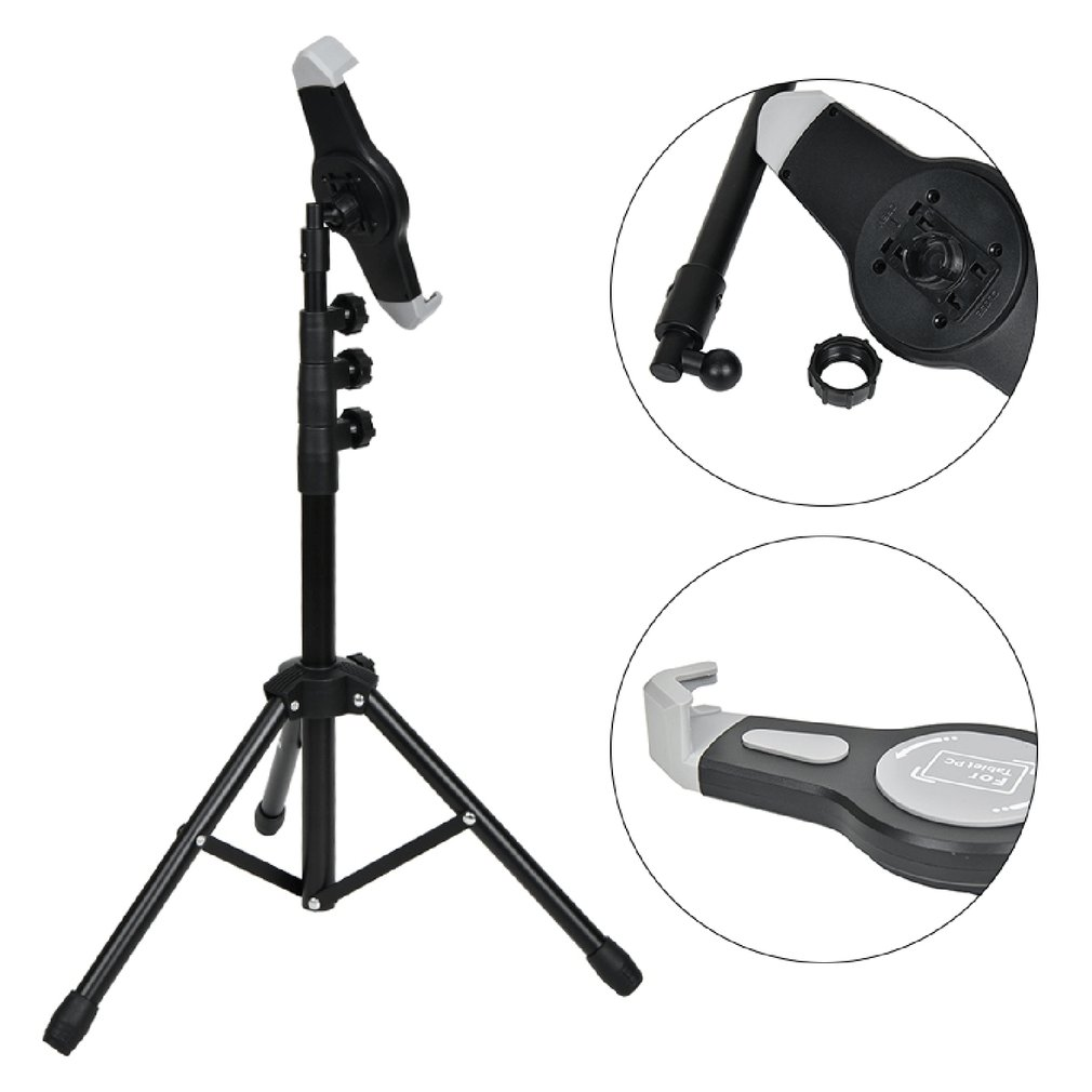 7-12 Inch Tripod Floor Tablet Stand Adjustable 360 Rotating Tablet Holder For IPad Flexible Bracket Music Rack Mount Tripod