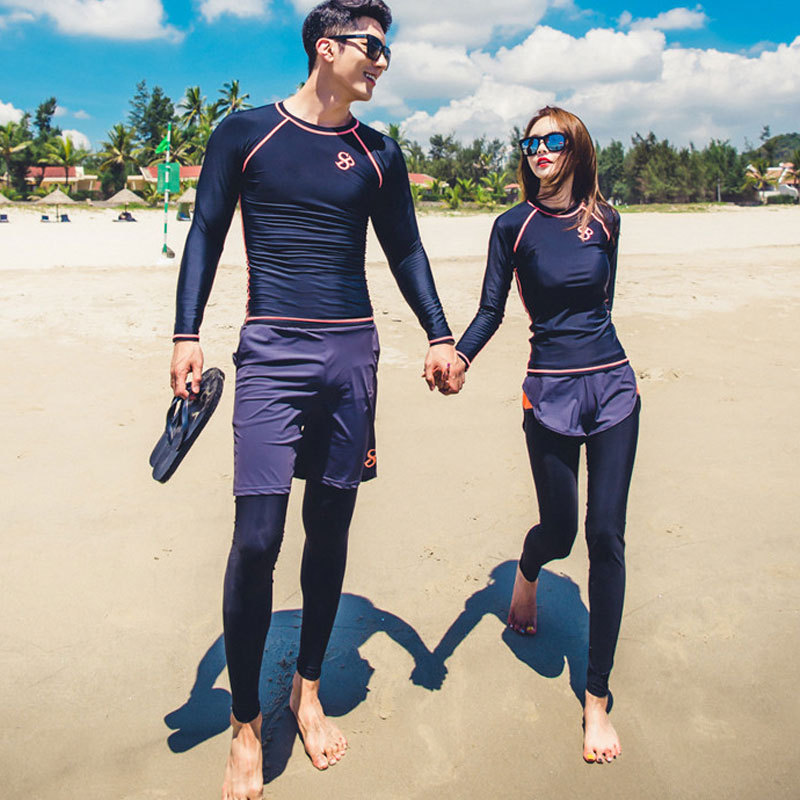 2018 New Style Couples WOMEN'S Seperated Swimwear Surfing Diving Suit Sun Protection Clothing Snorkeling Clothing Long Sleeve ME