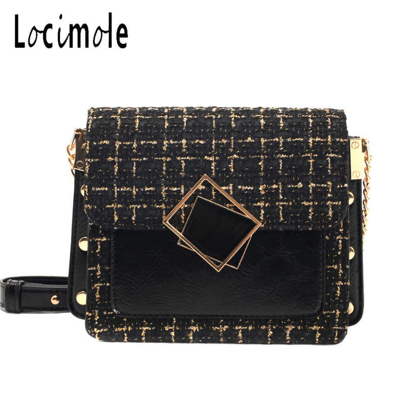 Locimole Woolen Fall Women Bag Korean Style Shoulder Bag Fashion Rivet Crossbody Bag Chain Shoulder Messenger Bag BIW427 PM49