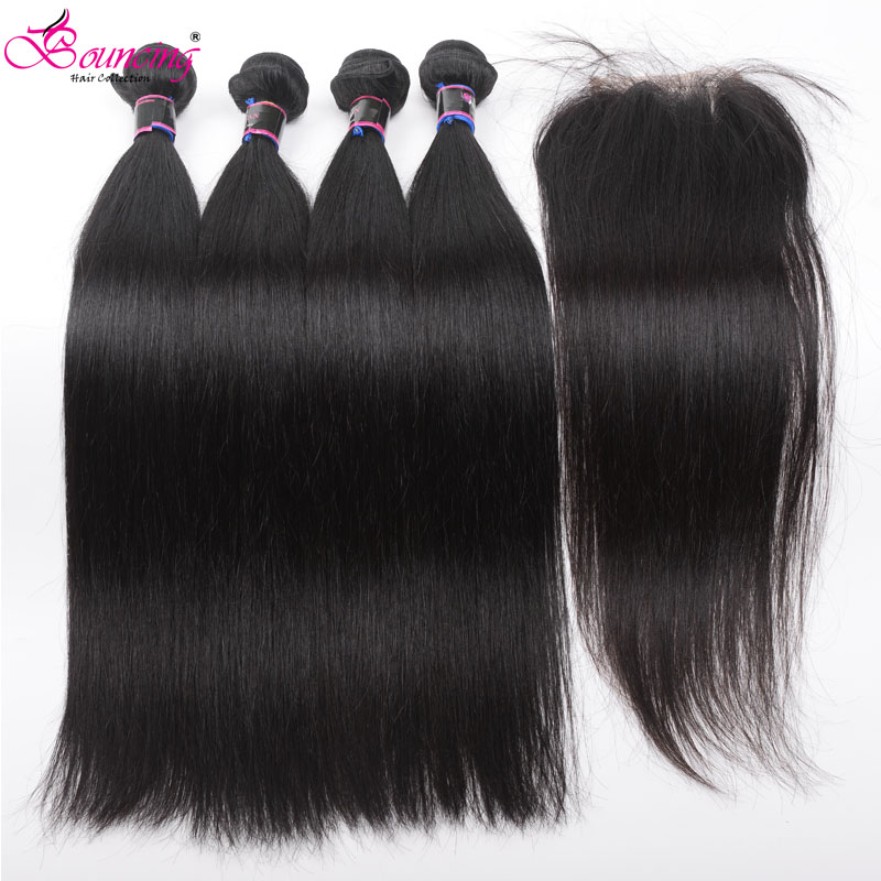 Bouncing Straight Bundles With Closure Human Hair Brazilian Remy Hair 4 Bundles With 4x4 Lace Closure 100% Human Hair Extensions