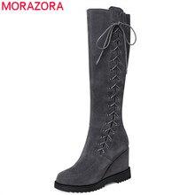 MORAZORA 2020 ホット女性ニーハイブーツスエード革の冬のブーツクロス結ばウェッジプラットフォームの靴女性のビッグサイズ 40