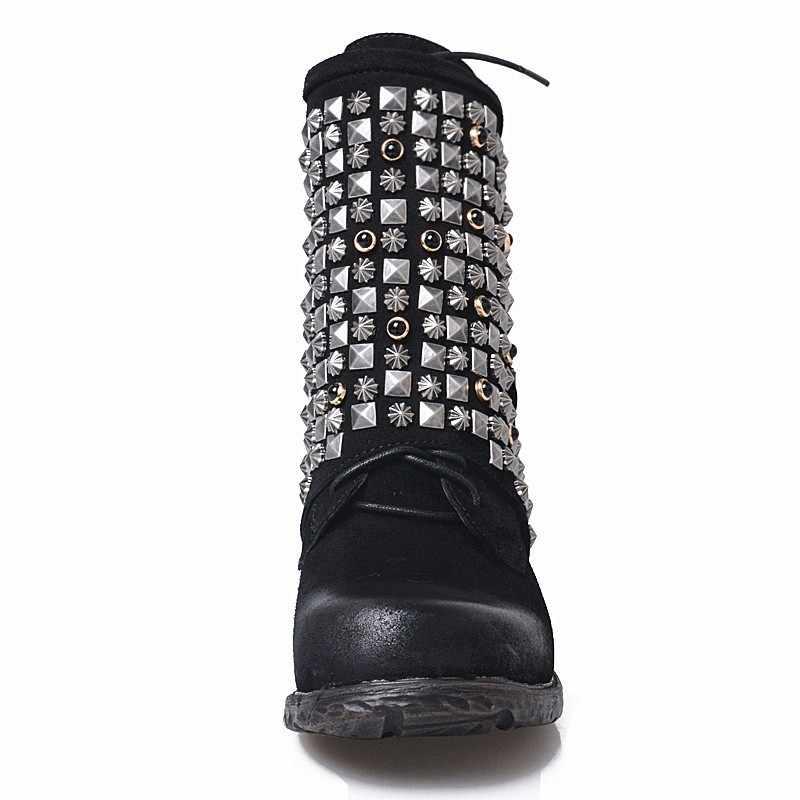Lüks avrupa hakiki deri bayan botları rahat fermuar perçin yarım çizmeler kadınlar için düz alt polar kar botları el yapımı 9T