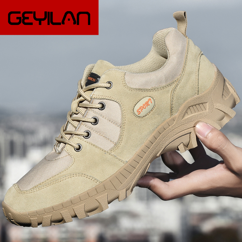 Genuine Leather Hiking Shoes Men 2019 New Spring Autumn Breathable Man Sneakers Lightweight Men's Outdoor Climbing Sports Shoes
