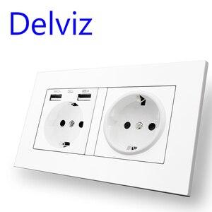 Image 3 - Delviz Standard ue gniazdo USB, podwójne gniazdko, 16A jakość panel zasilania AC 110 ~ 250V 146mm * 86mm, podwójna ramka do obrazu listwa sieciowa USB