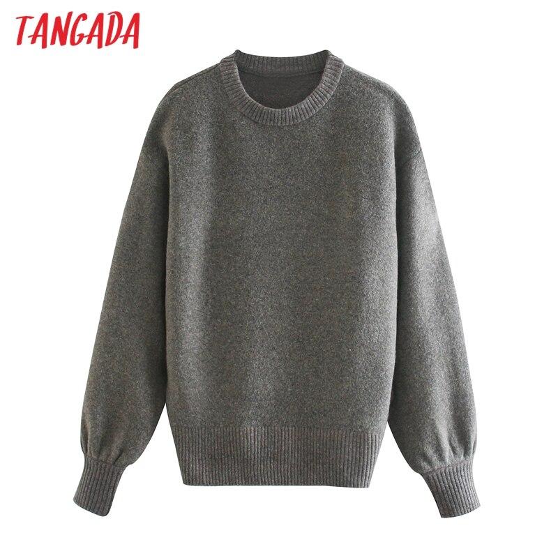 Tangada-suéter de punto de gran tamaño para mujer, Jersey informal con cuello redondo, jerseys de gran tamaño, Tops Chic 3L44