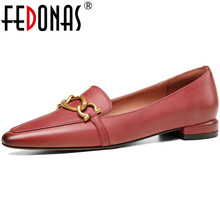 Pumps Ladu-Shoes Low-Heels FEDONAS Office Genuine-Leather Summer Women Basic Spring Shallow