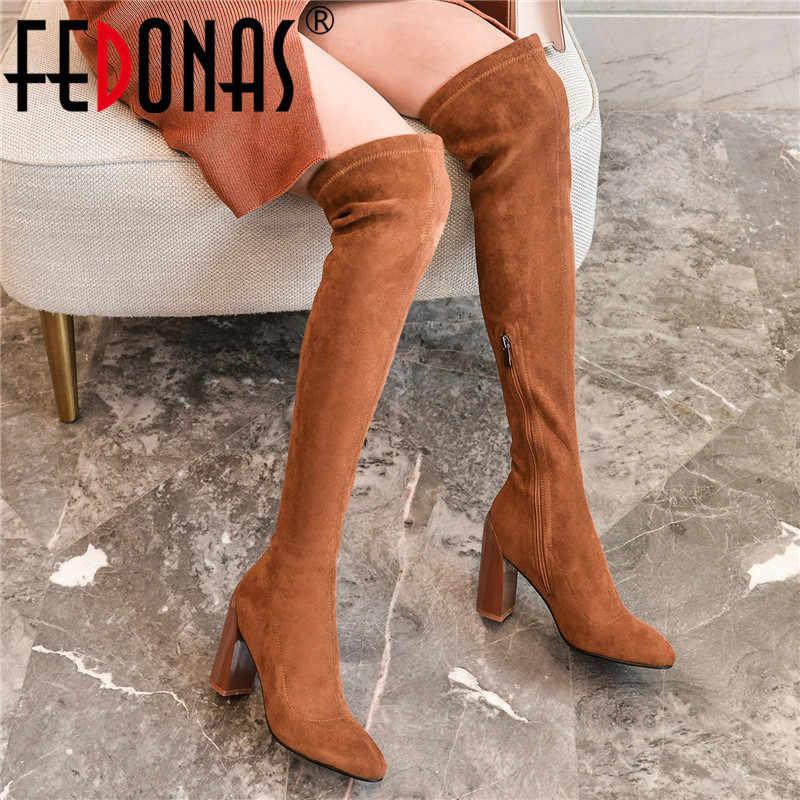 FEDONAS kadın büyük boy binici çizmeleri seksi akın çorap çizmeler gece kulübü ayakkabı kadın marka kadın ince diz yüksek çizmeler