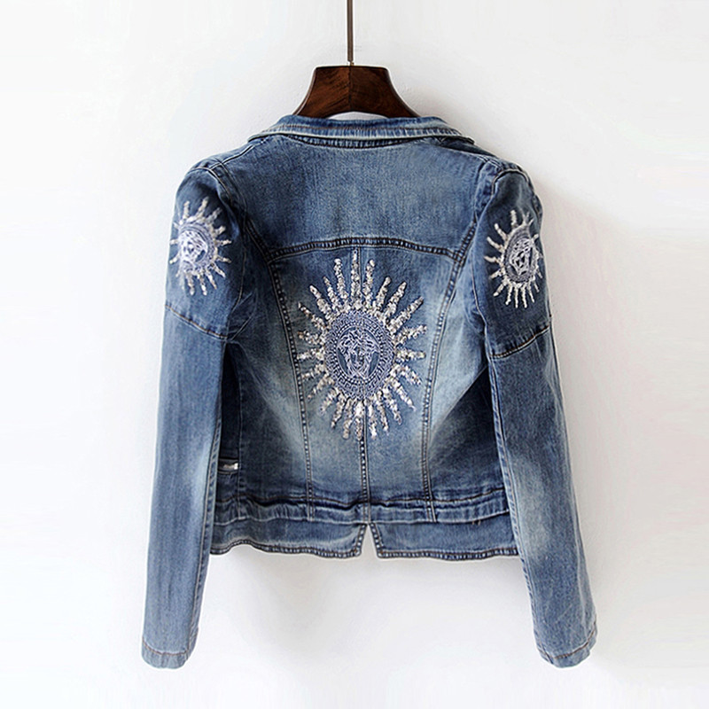 2019 Spring Women Fashion Sequins Jackets Long-sleeved Stretch Slim Denim Jacket Sun Plus Size Short Jacket Coat Cool Streetwear