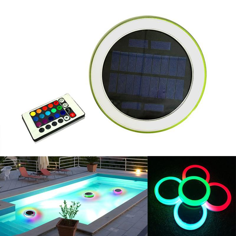 Remote Control RGB LED Underwater Light Solar Powered Pond Light Outdoor Swimming Pool Floating Party Decorative Lights