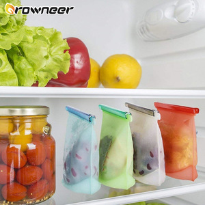4Pcs 1000/1500 Ml Silicone Food Bag Reusable Leak Proof Ziplock Bag Multiple Purposes Heat Freezer Resistant Preservation Bags