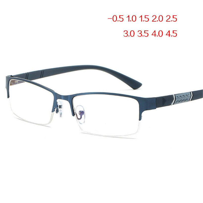 NYWOOH Finished Myopia Glasses Men Anti Blue Light Eyeglasses Retro Metal Half Frame Short Sight Eyewear -1.0 -4.5 Diopter