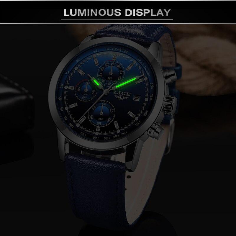 2019 LIGE nouvelle mode hommes montres analogique Quartz montres 30M étanche chronographe sport Date en cuir montres Montre Homme 2