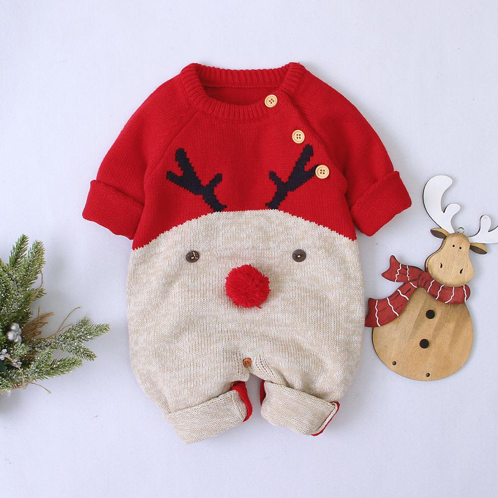 Baby Boys Christmas   Rompers   Reindeer Knitted Infantil Jumpsuits Toddler Girls New Year's Costume Children Overalls Clothes 0-2