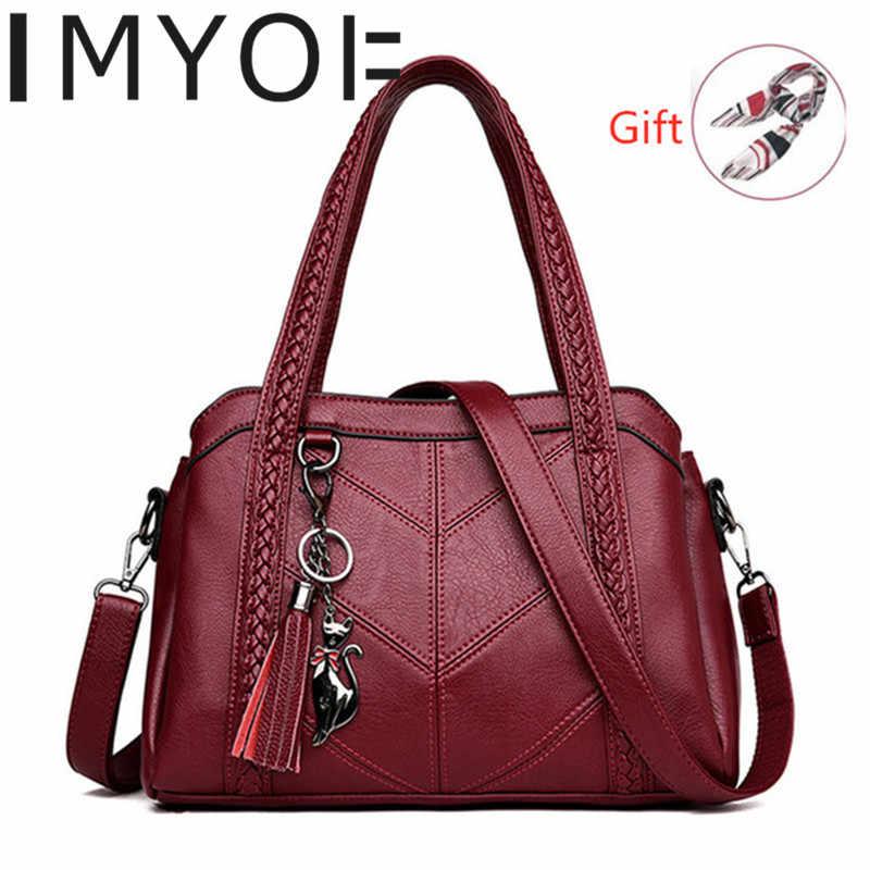 IMYOK nowe kobiety Messenger torby moda prawdziwej skóry torebki damskie duża pojemność dużego ciężaru torba gorąca sprzedaż torby Crossbody torebki