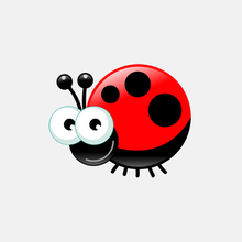 Car Sticker Funny Lovely Motorcycle Cartoon Red Star Ladybug PVC Decoration Waterproof Reflective Creative Decal,10cm*8cm