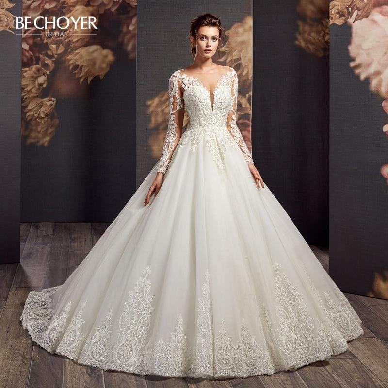 Luxury Beaded Appliques Wedding Dress BECHOYER AX19 Vintage Lace V-neck Long Sleeve A-Line Princess Bride Gown Vestido De Noiva