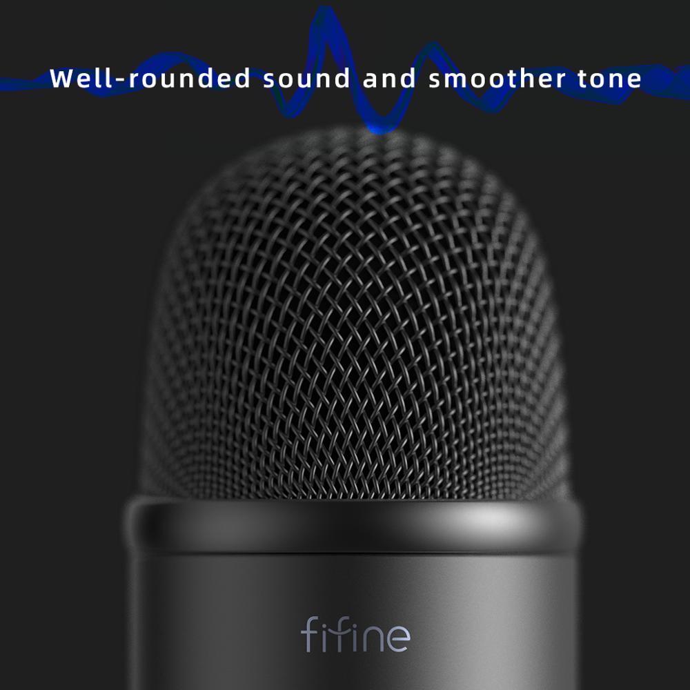 Microphone USB FIFINE pour enregistrement/Streaming/jeu, microphone professionnel pour PC & Mac, sortie casque micro & Control-K678 de Volume - 5
