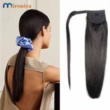 Owiń długie proste kucyk ludzkie włosy doczepy z włosów typu Remy malezja spinka do przedłużania włosów Ins Natural Color Hairpiece tanie tanio MIRONICA Remy włosy 100 g sztuka CN (pochodzenie) Ciemniejszy kolor tylko 1 sztuka tylko Pure color Malezja włosów Straight