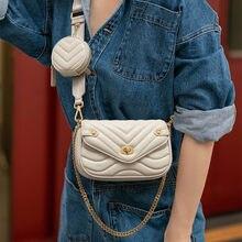 Mała torba na ramię ze skóry PU dla kobiet 2020 nowa torebka i torebki kobiet torba podróżna na ramię panie łańcuch torba ze sznurkiem 2 sztuk/zestaw